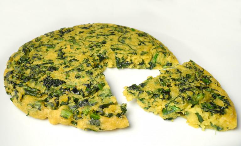Frittata senza uova con farina di lenticchie e cavolo nero