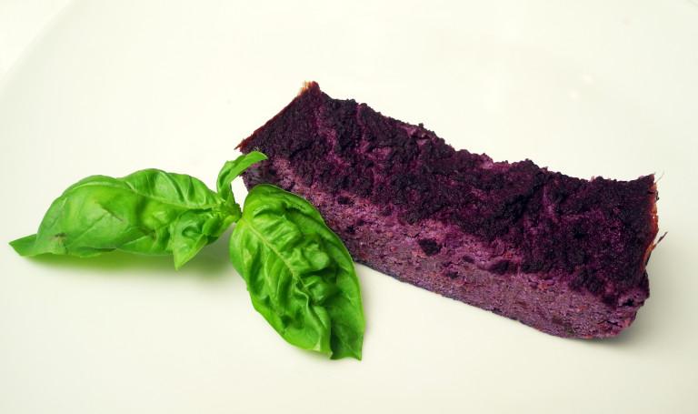 Sformatino di tofu carote viola e basilico