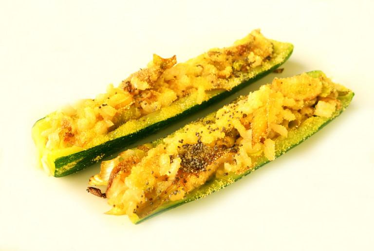 Zucchine ripiene di riso shitake